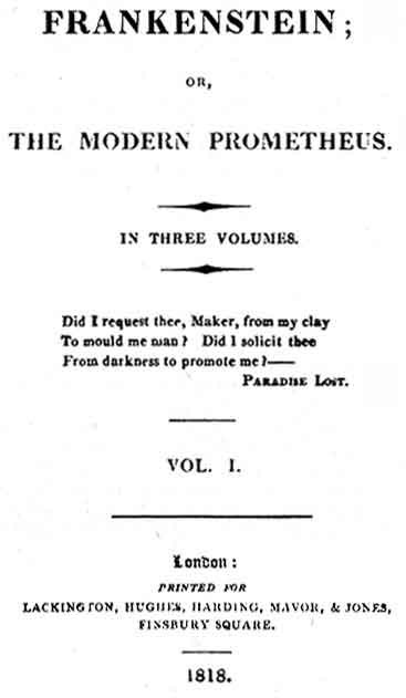 Frankenstein 1818 edition title page