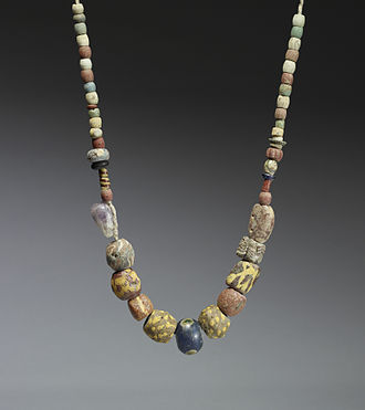 Franks - A 6th-7th century necklace of glass and ceramic beads with a central amethyst bead. Similar necklaces have been found in the graves of Frankish women in the Rhineland.