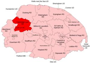 Freebridge Lynn Rural District - Boundaries in 1935