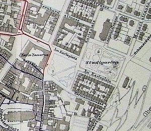 Stadtgarten Freiburg - City map from the turn of the century showing the original extent of the park