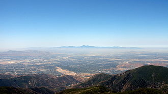 Inland Empire - View of the San Bernardino Valley from the San Bernardino Mountains. The Santa Ana Mountains are visible in the distance.