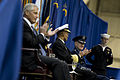 From left, Secretary of Defense Chuck Hagel and U.S. Navy Adm. Cecil Haney, the incoming commander of U.S. Strategic Command, applaud for outgoing commander Air Force Gen. C. Robert Kehler during a ceremony for 131115-D-BW835-570.jpg
