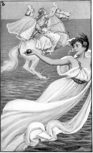 Niamh (mythology) - Oisín and Niamh on their way to Tír nan Óg, illustration by Albert Herter, 1899