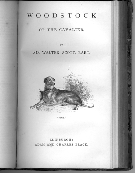 Adam and Charles Black's 1863 edition of Woodstock, by Sir Walter Scott (first publ. 1826) Frontispiece 1863 Woodstock-whole.png