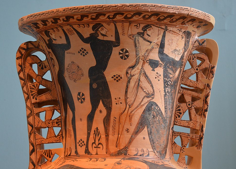 Funerary Proto-Attic Amphora with a depiction of the blinding of Polyphemus by Odysseus and his companions, 670-660 BCE, Eleusis Museum (15421822644)