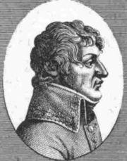 Black and white print of a wavy-haired man in profile. He wears a 1790s-style military coat with a large collar.