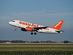 G-EZAU easyJet Airbus A319-111 cn2795 takeoff from Schiphol (AMS - EHAM), The Netherlands pic2.JPG