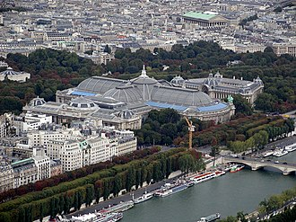 Grand Palais - The Grand Palais (center) and the Petit Palais (right) as seen from the Eiffel Tower