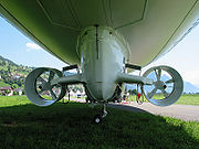 Steerable ducted fans on a Skyship 600 provide thrust, limited direction control, and also serve to inflate the ballonets to maintain the necessary overpressure