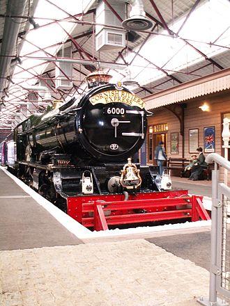 "Headboard (train) - Cornish Riviera Express headboard fitted to GWR ""King"" Class locomotive King George V"