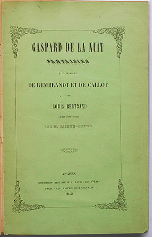 Aloysius Bertrand - Frontispiece of the first edition of Bertrand's Gaspard de la nuit