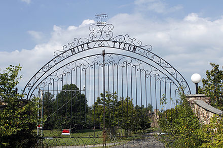 The gates of Tyson's mansion in Southington, Ohio, which he purchased and lived in during the 1980s. Gates of boxer Mike Tyson's mansion in Southington, Ohio.jpg