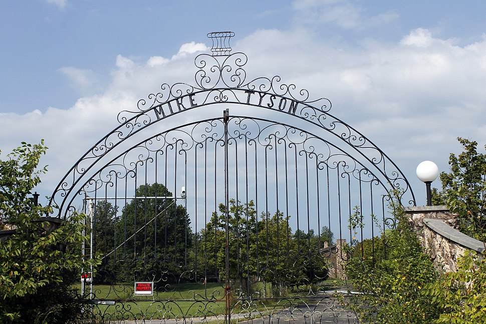 Gates of boxer Mike Tyson's mansion in Southington, Ohio