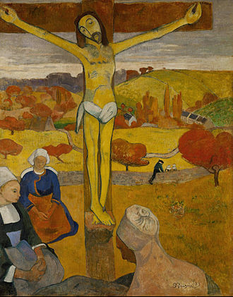 Cloisonnism - Paul Gauguin, The Yellow Christ (Le Christ jaune) 1889, oil on canvas Albright-Knox Art Gallery, Buffalo, New York