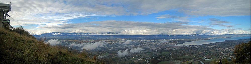 Panorama af Geneve-kantonen set fra bjerget Salève