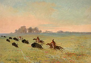 Comanche Indians Chasing Buffalo