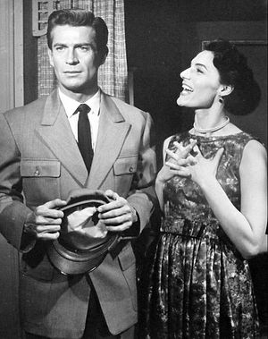 Ellery Queen - Photo of George Nader as Ellery Queen and Marian Seldes in the television program The Further Adventures of Ellery Queen.