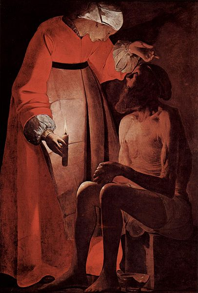 """Job mocked by his wife"" by Georges de la Tour"