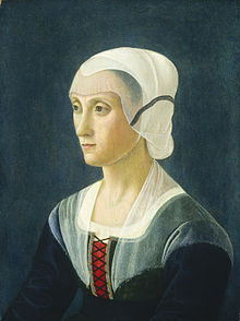 Portrait of Lucrezia Tornabuoni by Domenico Ghirlandaio at the National Gallery of Art in Washington, D.C. c. 1475.  She is wearing a simple black dress and a white Wimple.