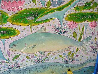 Mekong giant catfish - Representation of a Mekong giant catfish at a Buddhist temple in Chiang Khong.