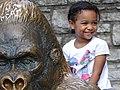 Girl on Gorilla Sculpture - St. Louis Zoo - St. Louis - Missouri - USA (41221325394).jpg