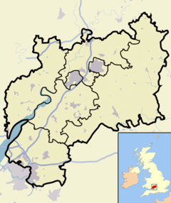 Gloucestershire outline map with UK