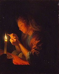 Girl Threading a Needle by Candlelight