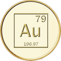 Gold medal with chemical symbol, atomic number and weight.png