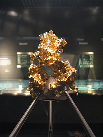 Gold parting -  Native gold on display in the Natural History Museum, London