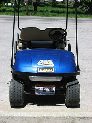 Front view of a {{w|golf cart}} with an {{w|Oh...