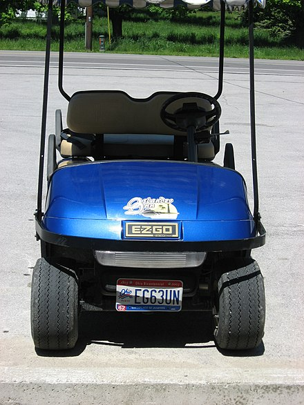 Some jurisdictions license non-traditional vehicles, such as golf carts, particularly on on-road vehicles, such as this one in Put-in-Bay, Ohio.