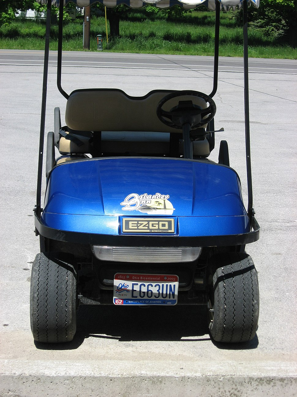 Golf cart with license plate