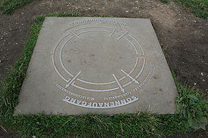 Goseck circle - Tile in the centre of the site showing axis alignment of the structure