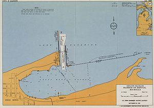 Grand Marais Harbor of Refuge Inner and Outer Lights - Map of Grand Marais Harbor