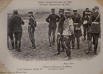 Franco-Russian Alliance - Image: Grandes manoeuvres de l'est 1901 Nicoals II général André