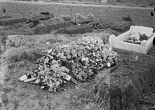 A grave with flowers