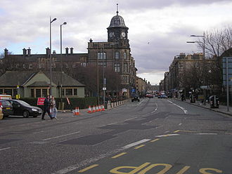 Scotmid - According to Edinburgh City Council, the former co-operative building at the west end of Great Junction Street has a distinctive domed octagonal clock tower, forming a major landmark.