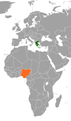 Map indicating locations of Greece and Nigeria