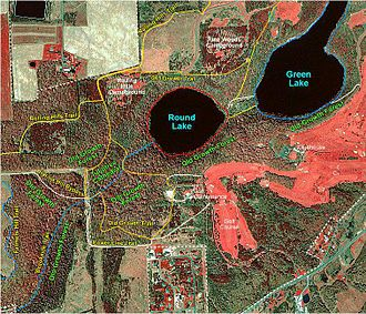 Green Lakes State Park - False-color satellite photograph of the central portion of Green Lakes State Park. The photograph shows the location of the two lakes, the major stands of old growth forest, and the trails that thread this section of the park.
