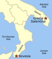Θέση των Γραικάνικων κοινοτήτων στην Καλαβρία και στο Σαλέντο