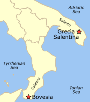 Modern Greek - Areas in Southern Italy where the Griko and Calabrian dialects are spoken