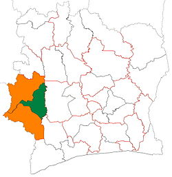 Location of Guémon Region (green) in Ivory Coast and in Montagnes District