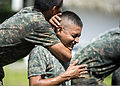 Guatemalan marines participate in a combat conditioning exchange with U.S. Marines assigned to a landing attack subsequent operations team as part of U.S. Marine Corps Martial Arts Program training during 140819-N-XQ474-094.jpg