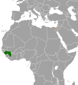 Mapo indikante lokojn de Guinea kaj Israelo