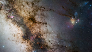 Ophiuchus - Rho Ophiuchi, a multiple star system in the constellation, can be seen in the right corner.