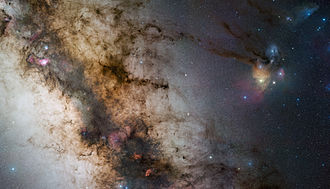 Ophiuchus - Rho Ophiuchi, shown with a surrounding bluish cloud slightly above a pentagon of stars in Scorpius, with the main band of the Milky Way much further to the left