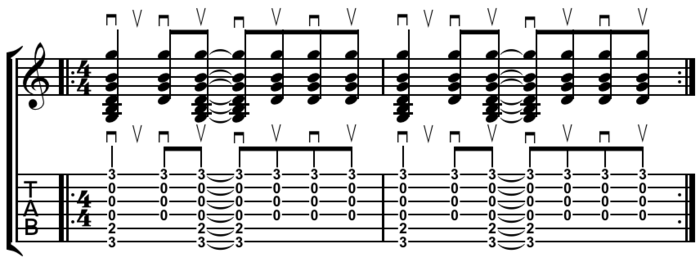 Guitar strum Play (help*info) : pattern created by subtracting the second and fifth (of eight) eighth notes from a pattern of straight eighth notes. Guitar strum on open G chord common pattern.png