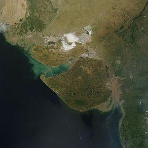Geography of Gujarat - Satellite image of Gujarat