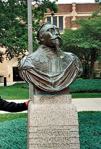 Gustavus Adolphus College - A bust of King Gustav II Adolf of Sweden on campus