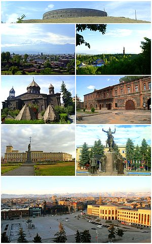 Gyumri City landmarks Sev Ghul FortressGyumri skyline with Mount Aragats • Mother Armenia monumentCathedral of the Holy Mother of God • Dzitoghtsyan MuseumIndependence Square • Memorial to the Battle of AvarayrGyumri City Hall at the Vartanants Square